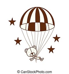 silhouette of bear on parachute on white background