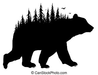 Silhouette of bear with forest.