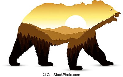 Silhouette of bear with mountain landscape.