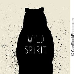 Silhouette of bear with wild spirit lettering. Vector