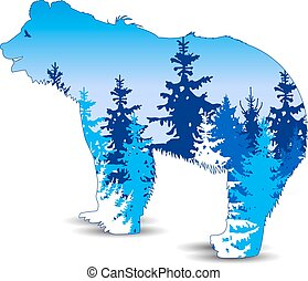 Silhouette of bear with winter woodland.