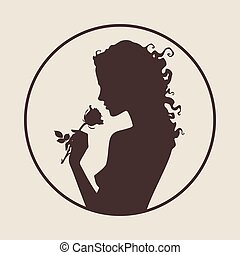 Silhouette of beautiful curly girl with rose