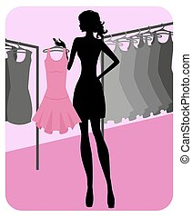 girl chooses clothes in shop - Silhouette of beautiful girl...