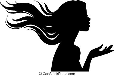 Silhouette of beautiful girl in pro
