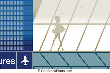 Silhouette of beauty girl in airpor