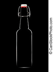 Silhouette of beer bottle isolated on black background