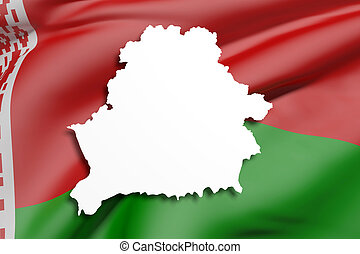 Silhouette of Belarus map with flag