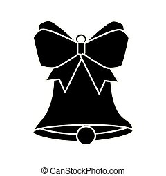 silhouette of bell christmas decoration with bow ribbon