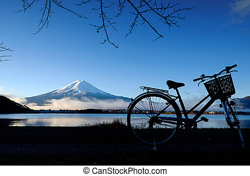 Silhouette of bicycle at Lake Kawaguchi Mt.Fuji ,japan