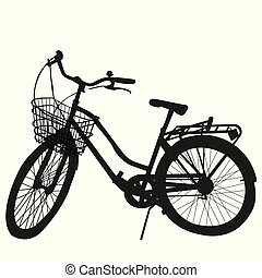 Silhouette of Bicycle on white background
