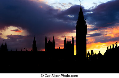 Silhouette of Big Ben, London