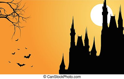 Silhouette of big castle and bat halloween