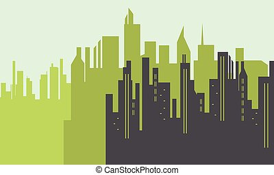 Silhouette of big city scenery