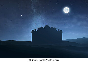 Silhouette of big mosque with moonlight