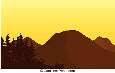 Silhouette of big mountain at sunset