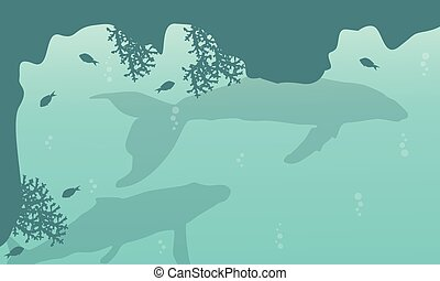 Silhouette of big whale on sea landscape