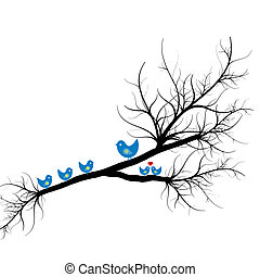 Silhouette of birds on branch