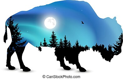 Silhouette of bison with coniferous trees on the background of colorful sky. Moonlight. Northern lights.