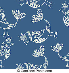 Silhouette of black ethnic birds. Seamless pattern. Vector illus