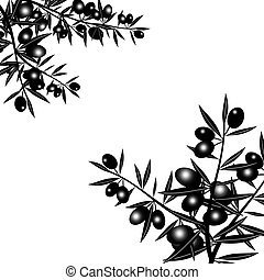 Silhouette of black olive branch