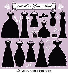 Silhouette of black party dresses accessories - Fashion...