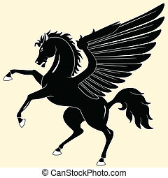 Silhouette of black Pegasus