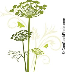 Silhouette of blooming fennel isolated on the white. Vector...