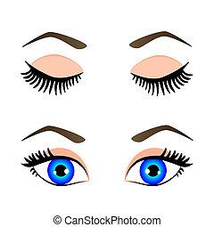 silhouette of blue eyes and eyebrow open and closed, vector illustration
