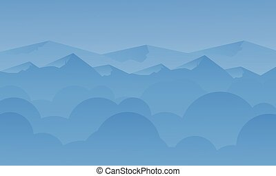 Silhouette of blue mountain and sky landscape
