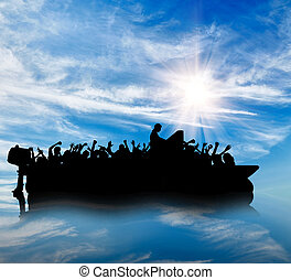 Silhouette of boats with refugees