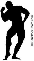 silhouette of body builder
