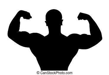 Silhouette of bodybuilder - Black silhouette of the...