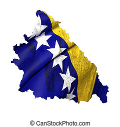 Silhouette of Bosnia and Herzegovina map with flag - 3d...