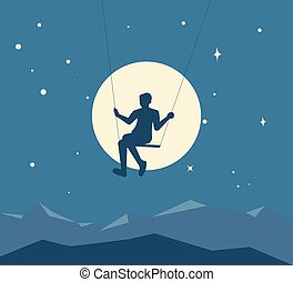 Silhouette of boy on a swing