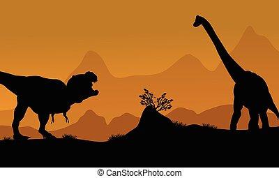 Silhouette of brachiosaurus and T-Rex