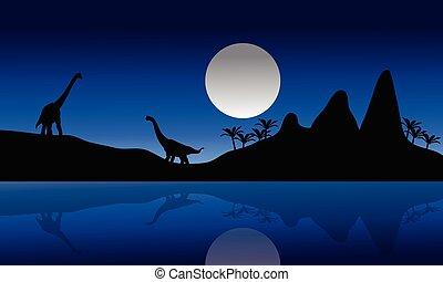 Silhouette of Brachiosaurus in riverbank