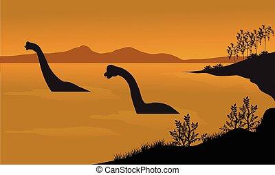 Silhouette of brachiosaurus in the water