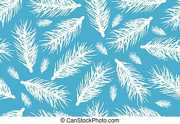 Silhouette of branches fir tree in white color on blue background. Seamless pattern, vector illustration.