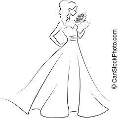 silhouette of bride with bouquet