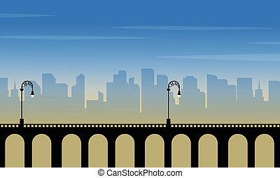 Silhouette of bridge with city background landscape