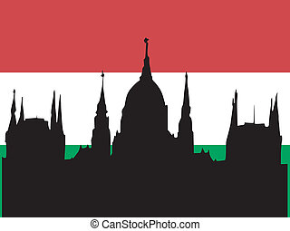 silhouette of Budapest on Hungary flag background