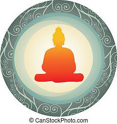 silhouette of Buddha in a circle - Buddha orange silhouette...