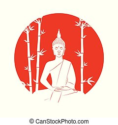 silhouette of buddha sitting in lotus pose on a red background with bamboo
