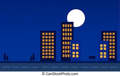 Silhouette of building at night landscape