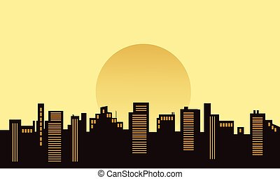 Silhouette of building beautiful scenery