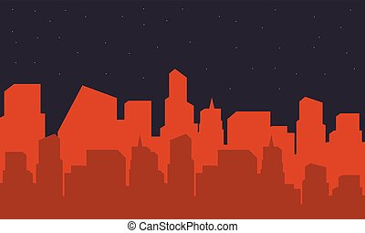 Silhouette of building city