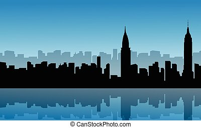 Silhouette of building city scenery with reflection