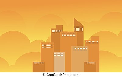 Silhouette of building design vector flat