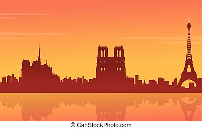 Silhouette of building France city scenery