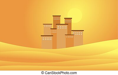 Silhouette of building on the desert